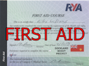 RYA First Aid Certificate